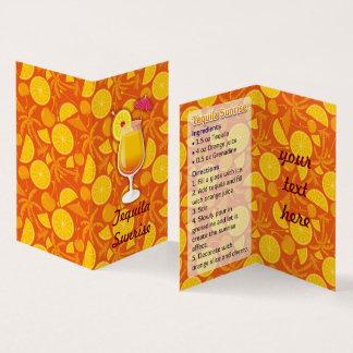Tequila Sunrise Recipe Business Card
