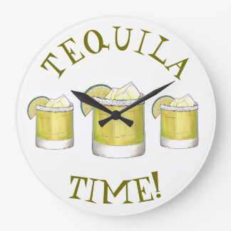 Tequila Time Margarita Cocktail Mixed Drink Lime Large Clock