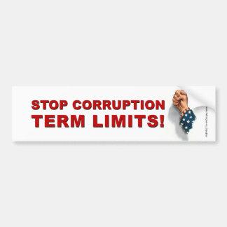 Term Limits, Stop Corruption - Bumper Bumper Sticker