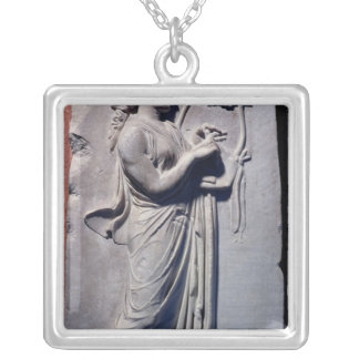 Terpsichore, the muse of dancing and song silver plated necklace