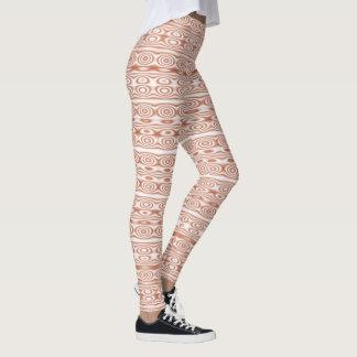 Terra-cotta Circles and Stripes Leggings