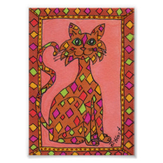 Terra Cotta Diamond Pattern Cat Mini Folk Art Poster