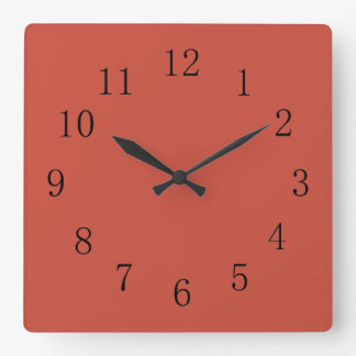 Terra Cotta Red Earth Tone Square Wall Clock