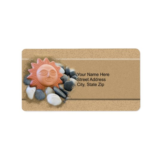 Terra Cotta Sun On Sand And Rocks Label