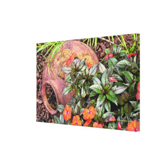 """TERRA COTTA VASE AMONG GARDEN FLOWERS"" GALLERY WRAPPED CANVAS"