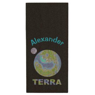 Terra Planet Earth Space Geek Blue And Green Wood USB 2.0 Flash Drive