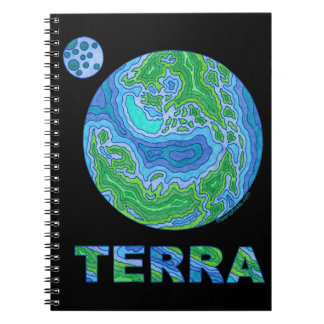 Terra Space Geek Solar System Earth Art Journal Spiral Note Book
