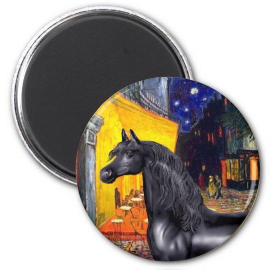 Terrace Cafe - Black Arabian Horse 6 Cm Round Magnet