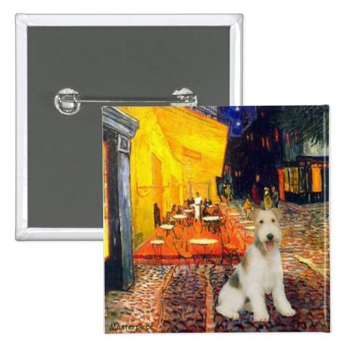 Terrace Cafe - wire Fox Terrier #1 15 Cm Square Badge