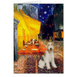 Terrace Cafe - wire Fox Terrier #1 Greeting Cards