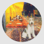 Terrace Cafe - wire Fox Terrier #1 Round Stickers