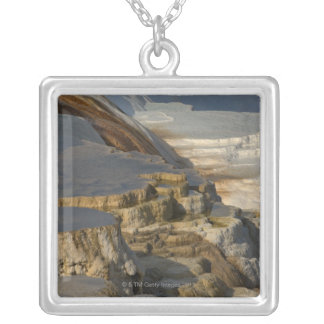 Terrace Mountain at Mammoth Hot Springs Silver Plated Necklace