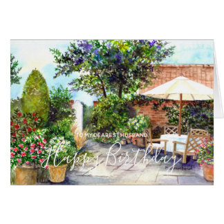 Terrace of The Manor House Watercolor Painting Card