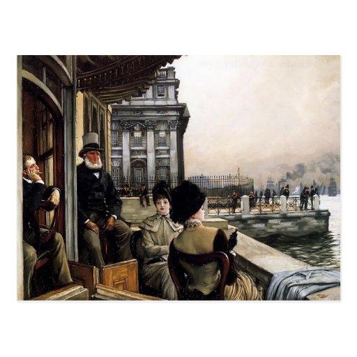 Terrace of the Trafalgar Tavern by James Tissot Post Card