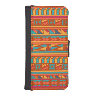 Terracotta Abstract Aztec Tribal Print Pattern iPhone SE/5/5s Wallet Case