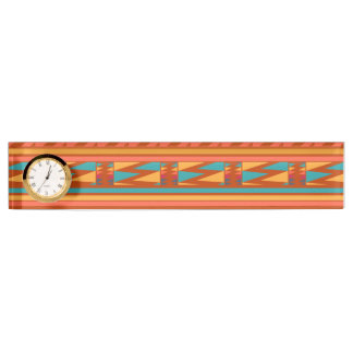 Terracotta Abstract Aztec Tribal Print Pattern Nameplate