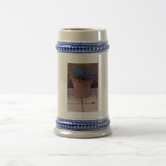 Terracotta and Blue Flowers Beer Stein