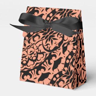 Terracotta Orange and Black Luxury Chic Damask Favour Box
