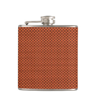 Terracotta Orange Brick Patterned Hip Flask