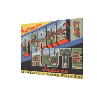 Terre Haute, Indiana - Large Letter Scenes Canvas Print