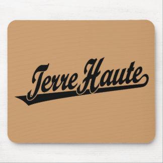 Terre Haute script logo in black Mouse Pad
