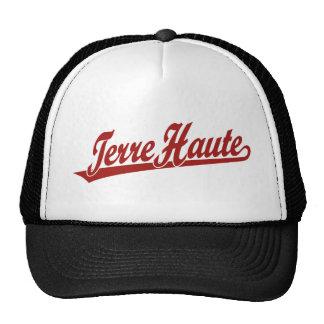 Terre Haute script logo in red Hats