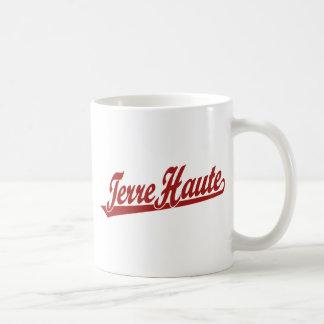 Terre Haute script logo in red Coffee Mug