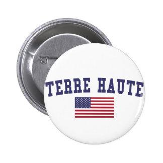 Terre Haute US Flag 6 Cm Round Badge