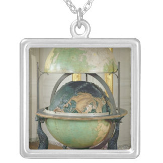 Terrestrial and celestial globe silver plated necklace