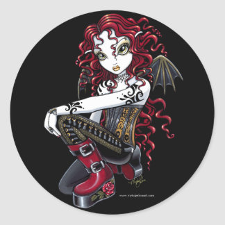 """Terri"" Gothic Red Rose Tattoo Fairy Art Stickers"