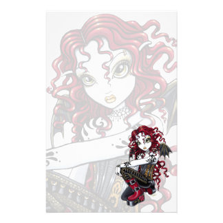 """Terri"" Gothic Red Rose Tattoo Fairy Stationery"