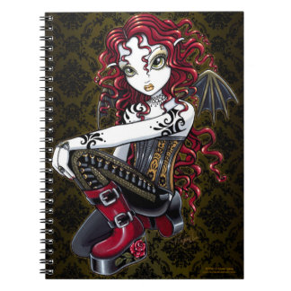 Terri Gothic Tribal Tattoo Red Fairy Notebook