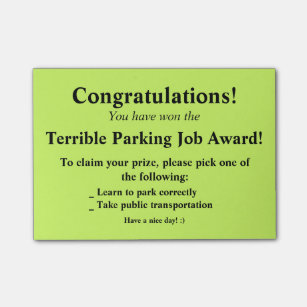 Bad parking gifts gift ideas zazzle uk terrible parking post it post it notes colourmoves