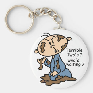 Terrible Two's? Who's Waiting? Baby (BLUE) Basic Round Button Key Ring
