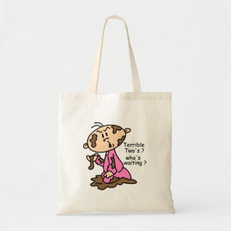 Terrible Two's? Who's Waiting? Baby (PINK) Budget Tote Bag