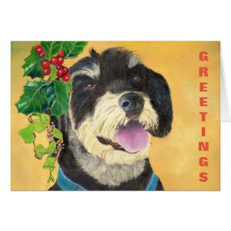 Terrier Christmas card (a417) title=