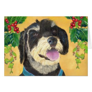 Terrier Christmas card (a418) title=