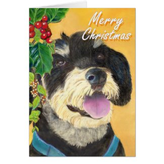Terrier Christmas card (a419) title=