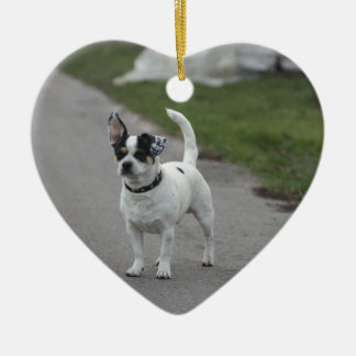 Terrier Dog looking Cute! Ceramic Heart Decoration