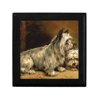 Terrier Dogs Pets Antique painting Jewelry Box