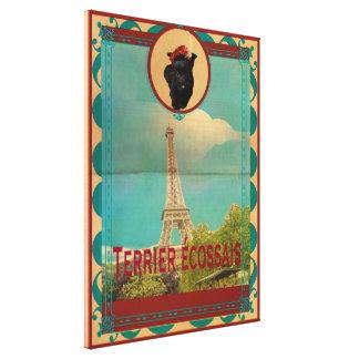 Terrier écossais Retro Poster Home Décor Stretched Canvas Print
