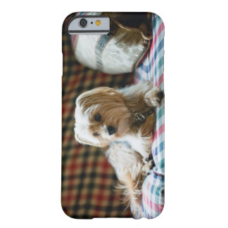 Terrier lying on checkered blanket barely there iPhone 6 case