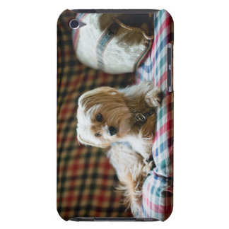 Terrier lying on checkered blanket barely there iPod case