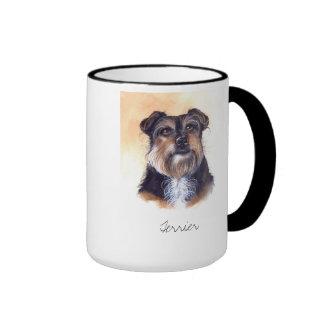 Terrier Painted in Watercolour Ringer Mug