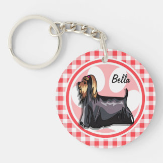 Terrier; Red and White Gingham Key Chain