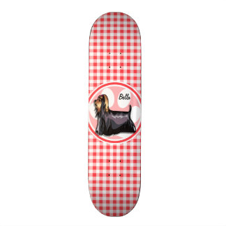 Terrier; Red and White Gingham Skate Board Deck
