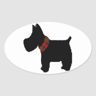 Terrier with a Red Tartan Check Collar Oval Stickers