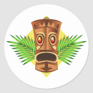 Terrifying Tiki Tropical Statue With Palms Classic Round Sticker
