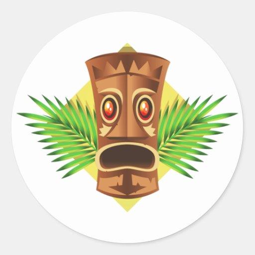 Terrifying Tiki Tropical Statue With Palms Round Sticker