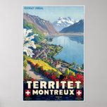 Territet, Montreux, Switzerland Vintage Travel Poster
